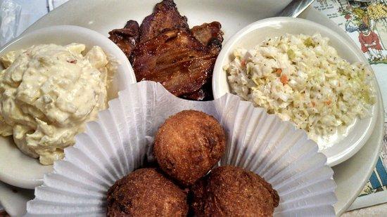 Carolina Bar B Q: BBQ Brisket, potato salad, Cole Slaw, & Hush Puppies