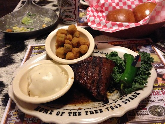 Big Texan Steak Ranch : 8 oz. top sirloin cut, mashed potatoes, fried okra