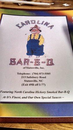 Carolina Bar B Q: Front cover of their Menu