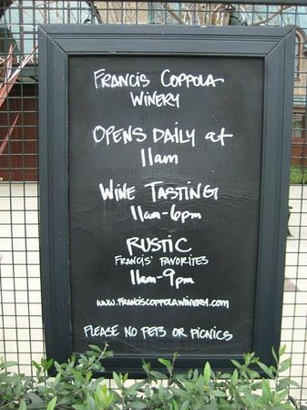 Francis Ford Coppola Winery: Schedule