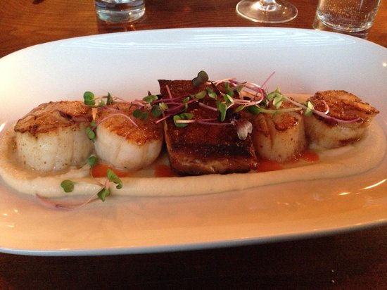 Spotted Bear : Scallops and pork belly floating on a cauliflower mousse!