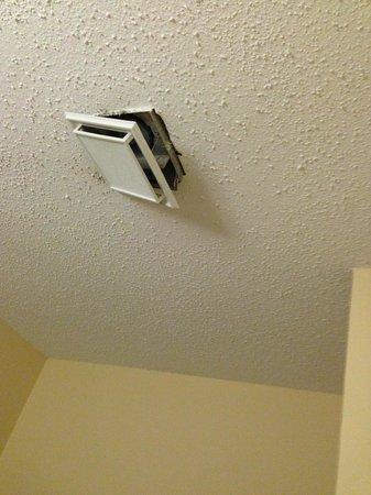 Quality Inn & Suites North: Bathroom vent falling off