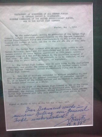 Museum of the Surrender: Copy of Instrument of Surrender