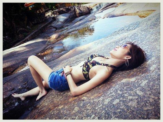 Telaga Tujuh Waterfalls: You can lay back and soak in the fresh cool water