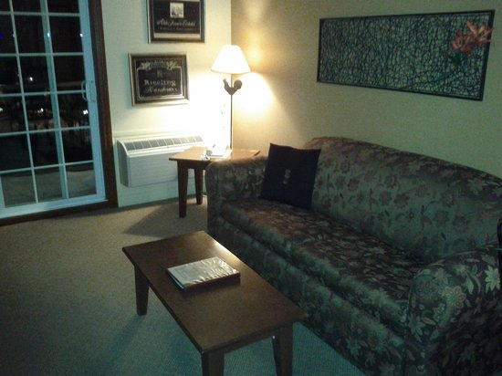 Auberge du Lac Morency : lounge area in 1 bedroom. pull out couch