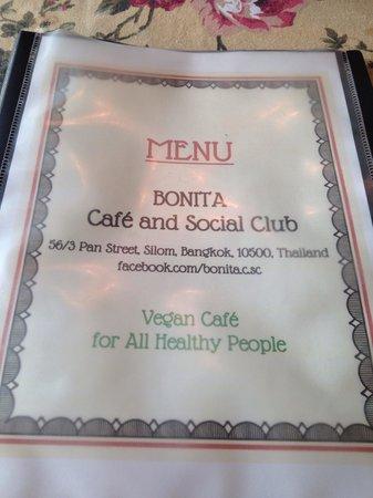 Bonita Cafe and Social Club: Menu