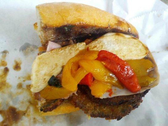 Mozzarella Fella: Ham and eggplant sandwich w/house-made mozzarella, sauteed peppers, and balsamic