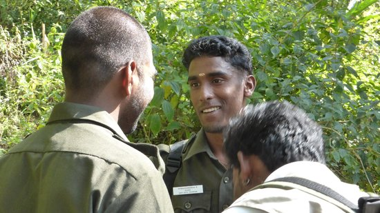 Periyar Tiger Reserve: Rangers discussing which path is the best one to take.