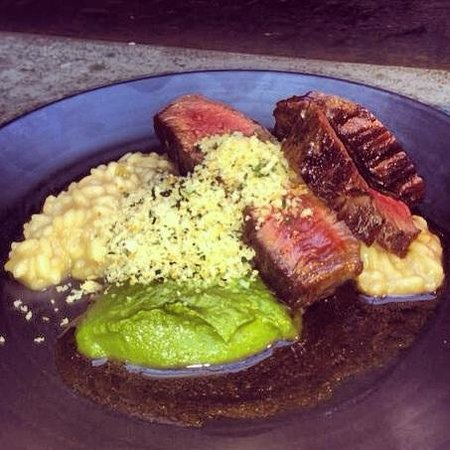 64 Degrees: Steak, risotto, wild garlic pesto