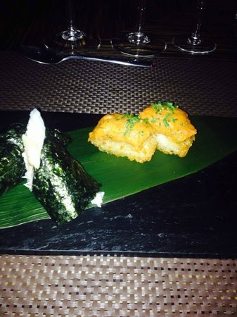 Casarena Restaurante: Argentina King Crab Hand Roll & Yellowfin Tuna on Crispy Rice
