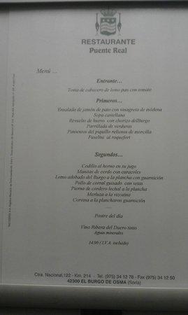 Hotel Rio Ucero : Carta Menu 14,90€