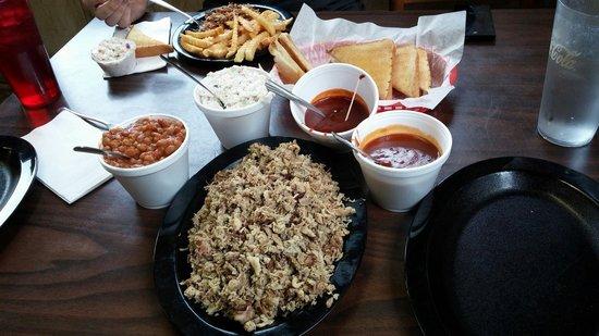 BBQ Pork, beans, coleslaw and Texas toast at The Carolina Smokehouse.  Their BBQ sauce tastes a