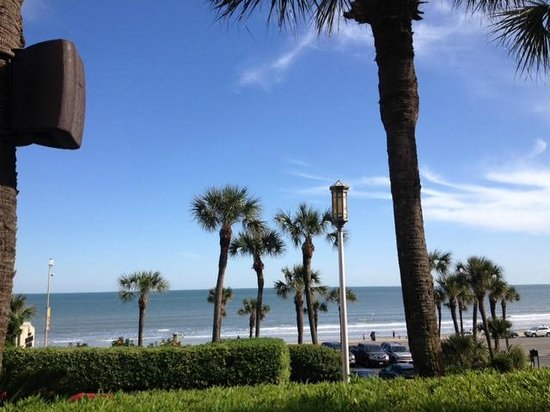 The San Luis Resort: view from pool bar area of beach across street