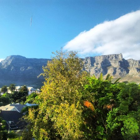 Once in Cape Town: The view over Table Mountain from my single room.