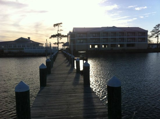 Island Inn and Suites: The hotel and restaurant from the end of the dock.