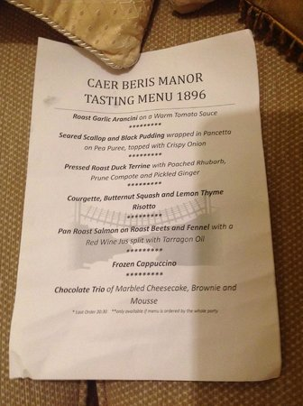 Caer Beris Manor Hotel: 7 course taster menu eg