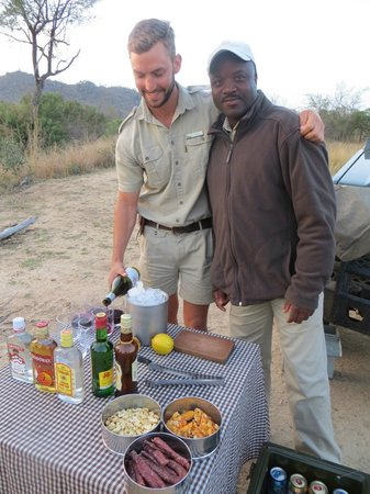 "andBeyond Exeter River Lodge: Our ranger and tracker treated us to a ""sundowner"" in the wild."
