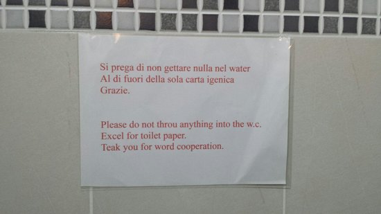 Questo il cartello nel bagno ... era un chimico. - Foto di Pit Stop, Anzola dell'Emilia ...