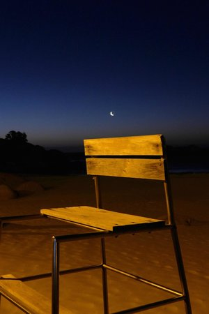 Clifton Beaches : Clifton 4th Beach, Moon over beach and life-saving chair