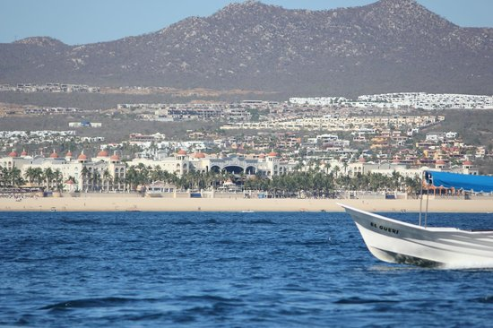 Hotel Riu Palace Cabo San Lucas: Looking back at the Riu Palace from water taxi