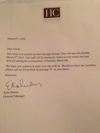 Hotel Chandler: Excellent customer service - letter informing us of DST/clock change