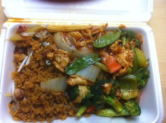 Peking Restaurant: Greasy & almost inedible chicken with garlic sauce