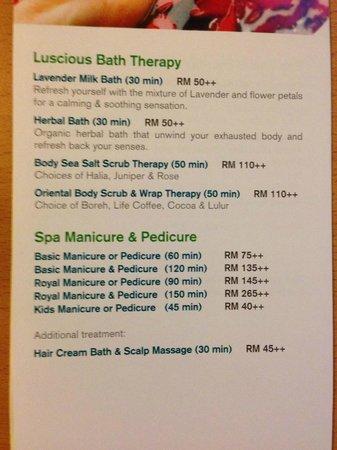 Spa Menu Part 2 2 Picture Of Holiday Inn Melaka Melaka