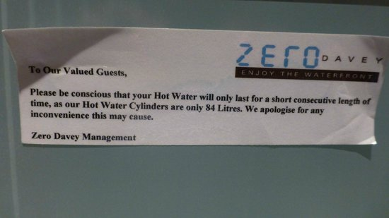 Zero Davey Boutique Apartment Hotel: Notice warning That Hot Water May Run Out