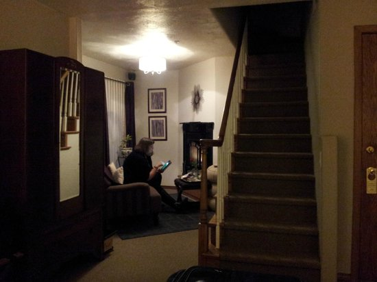 The Roosevelt Inn: The fireplace sitting room and stairs to Bell Tower sitting room