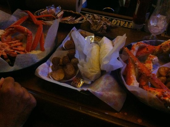 Walts Fish Market and Restaurant : Justin's dinner on left, King crab on right