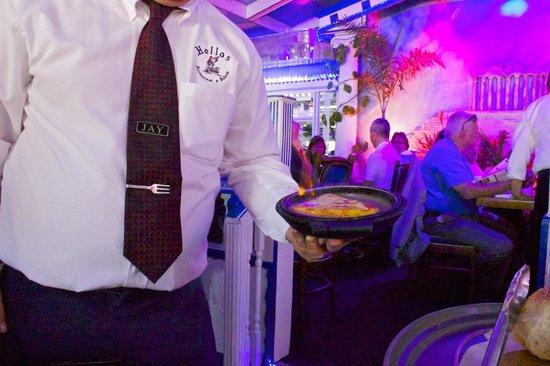 Hellas Restaurant : Flaming saganaki makes a festive presentation.