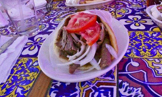 Hellas Restaurant : The unwieldy gyro calls for utensils.