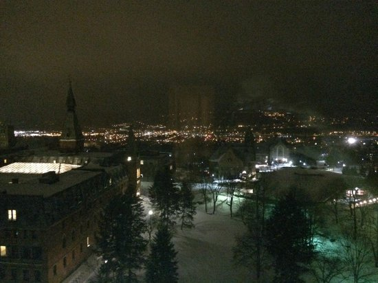The Statler Hotel at Cornell University : Night time view of West Campus & beyond from Room 912