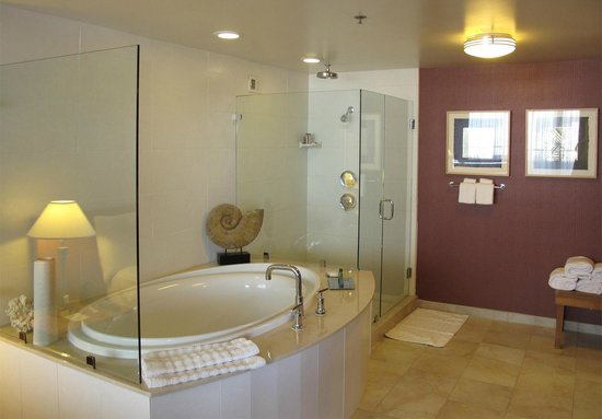 Hilton San Francisco Financial District : Suite's Jetted Tub & Walk-in Shower
