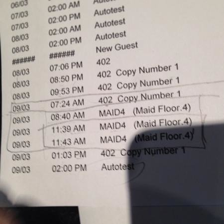 Amora Neoluxe: key entry log showing maid entering our room several times