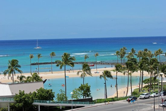 The Modern Honolulu: View of the lagoon next to The Modern. Perfect for watching the Friday night fireworks show!