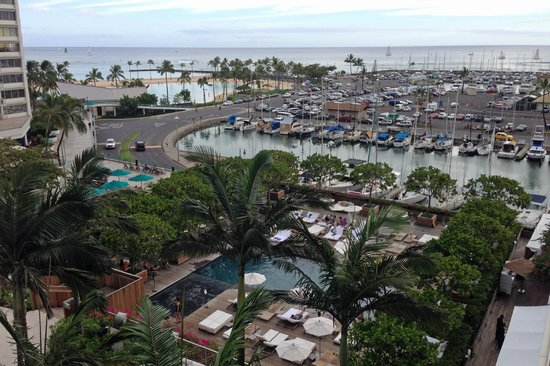 The Modern Honolulu: View from one of our rooms. Overlooking the Sunrise Pool and nearby boat harbor.