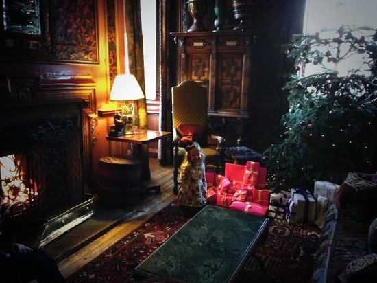 Prestonfield: The Leather Room on Christmas Morning...and an excited little girl
