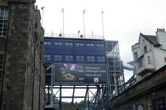 Edinburgh Castle: Temporary stands under construction for the Edinburgh Military Tattoo.