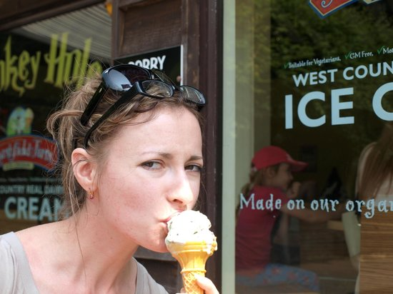 Wookey Hole Caves : Natasha with her ice cream.