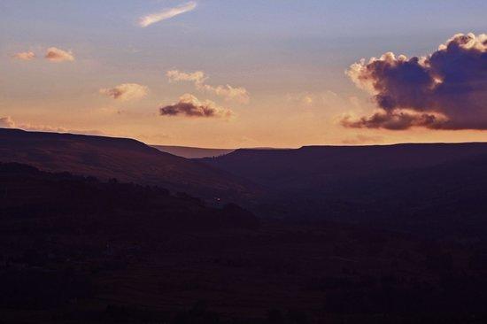 The Wheatsheaf in Wensleydale: Sunset looking towards Carperby