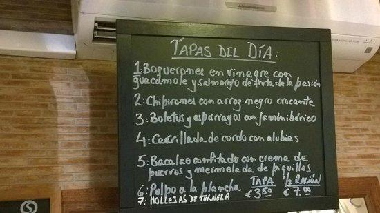 Tapeo de Cervantes: Tapas menu del dia