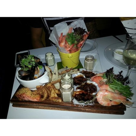 Helm Bar & Bistro: seafood sharing platter and bucket of prawns. amazing !