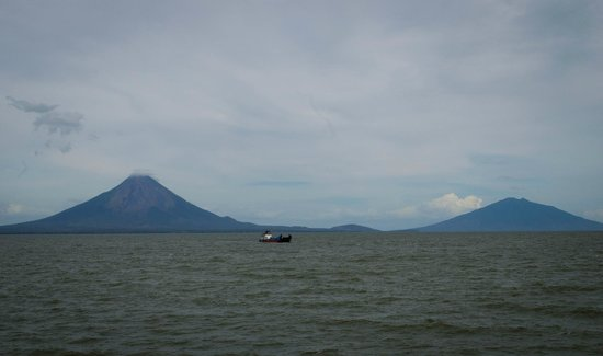 Isla Ometepe as seen from a ferry from San Jorge