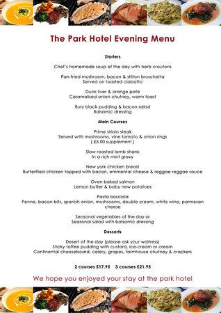 The Park Hotel: Dinner Menu