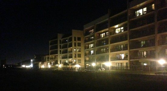 Night view of SeaBreeze Beach Resort from north beach access 021414