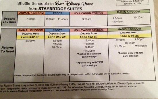 Staybridge Suites Lake Buena Vista: Schedule for Disney Shuttles (as of 3/11/14)