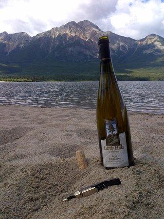 Larch Hills Winery: Enjoying our wine in Jasper Alberta