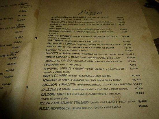 PEPeNERO Cucina Italiana: ピザメニュー