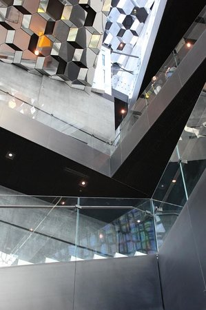 Harpa Reykjavik Concert Hall and Conference Centre: View from the lobby to the roof.